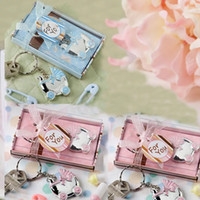 Wholesale baby shower favor keychain resale online - Baby Shower Favors Pink Blue Baby Carriage Design Key Chains Birth Christening Gift Keychain Favor