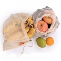 ingrosso organic fruit-Eco riutilizzabile coulisse in cotone organico String Shopping Frutta verdura Sacchetto della spesa Shopper Tote Mesh Net Woven Shoulder Bag Hand Totes Borsa