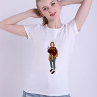 современная женская одежда оптовых-Vogue Colorful Cute Cartoon Modern Girl T Shirts Modal Women Summer White T-shirt Fashion Lady Casual Clothes Sweet Top Clothing