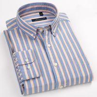 camisas de vestir oxford para hombre al por mayor-100% algodón para hombre de Oxford camisas de alta calidad de visita rayada camisas sport suave vestido Sociales Regular Fit camisa masculina del tamaño grande 8XL CJ191206