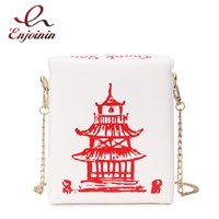 Wholesale chinese red white blue bag resale online - Chinese Takeout Box Tower Print Pu Leather Ladies Handbag Novelty Cute Women Girl Shoulder Bag Messenger Bag for Women Totes Bag V191114