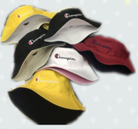 Wholesale men spring hats resale online - Unisex Double sided Embroidery Letters Champion Bucket Hat Summer Travel Beach Sunhat Visor Designer Men Women Outdoor Fisherman Hats C61301
