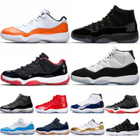 tapas de aire rojo al por mayor-Nike Air Jordan 11 11s Hombres Mujeres Zapatos de baloncesto Concord 45 Naranja Trance gorra y bata Bred Gym Rojo UNC Athletic Trainer Sport Sneakers tamaño 36-47