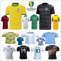 shirt jersey messi achat en gros de-2019 Copa America Soccer Jerseys Argentine Messi Brésil Colombie James Mexique Honduras Uruguay L.Suarez Custom 2020 Football à domicile Maillot