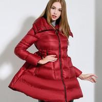 Wholesale swing patterns for sale - Group buy Pleated skirt coat Women Winter Down Jackets Warm Long Swing Ladies Outwear Dress