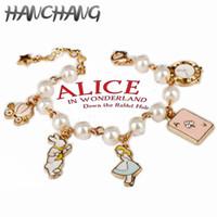 lolita çizgi filmleri toptan satış-Karikatürler Alice In Wonderland Charm Bilezik Alice Saray Rüzgar Lolita KızRabbit Poker Kabak Araba Bileklik Bilezik Sihirli Hediyeler