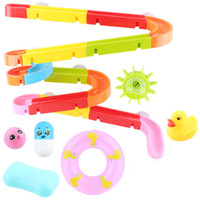 Wholesale toy water slides for sale - Group buy Baby Bath Toys Shower Track Slide Water Toys Baby Shower Bathroom Assemble Toys Squeeze Duck Fake Swim Ring Fun Pool Toy SH190912