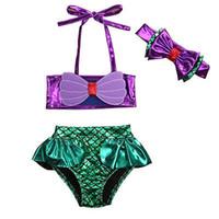 bikini mayo mayo toptan satış-2 adet Set Prenses Bebek Kız Küçük Denizkızı Bikini Set Bow Mayo Mayo Mayo Kostüm Bebek Kız Giysileri