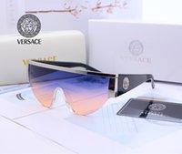 large framed polarized sunglasses women toptan satış-Moda marka güneş gözlüğü tasarımcı erkekler ve kadınlar yüksek kalite polarize güneş gözlüğü büyük çerçeve bağlı lens güneş gözlüğü marka kutusu ambalaj