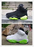 флуоресцентные зеленые баскетбольные туфли оптовых-2019 6 белых и черных флуоресцентных зеленых крыльев VI мужские баскетбольные кроссовки спортивные 6с кроссовки на открытом воздухе с размером коробки 7-13 с коробкой