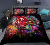 Wholesale tiger print bedding sets resale online - Tiger Bedding Set Colourful Animal Duvet Cover Set Black Skull King Quilt Cover Wild Animals Bed Splashing Pillow Cases