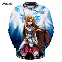 ingrosso maglioni da uomo online-Giacca 3D Sword Art Online Lovers Donna Uomo Giacca 3D Felpa Snow And Ice Boys Giacche da baseball Fashion Thin Tops