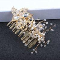 künstliche haare für bräute großhandel-Künstliche Perlen Kristall Kopfbedeckungen Kopfschmuck Braut Ehe Krone Luxus Königin Krone Damen Hochzeit Haarschmuck Prinzessin Kopfbedeckungen
