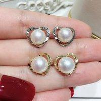 ajustes del corazón de plata al por mayor-Shinning Heart Design Pendientes de aretes Ajustes S925 Pendientes de perlas de plata esterlina Componentes SilverGold Color 3Pairs / Lot