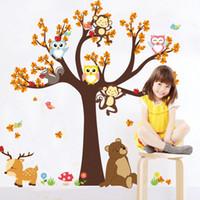 singe décor d'enfants achat en gros de-Dessin animé enfants stickers muraux forêt animal hibou singe cerf arbre enfants chambre décoration de la maison livraison gratuite