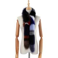 kadın tilki kürk eşarpları toptan satış-2018 Yepyeni Orijinal Gerçek Fox Kürk Uzun Eşarp kadın Moda Kürk Atkılar Kış Sarar Kabarık Sıcak Lüks Atkı Renkli
