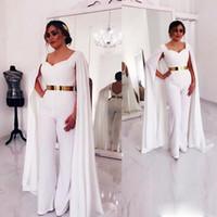 kat uzunluğu elbise kırmızı halı toptan satış-Cape ile beyaz Tulum Abiye V Boyun Altın Kemer Kat Uzunluk Kırmızı Halı Elbise Custom Made Dubai Balo Abiye Örgün giymek