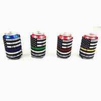 держатели для флагов оптовых-Неопреновый держатель для пивной банки 4 дизайна Изолированная крышка для банок с колой Сумки для бутылок с вином Cooler National Flag Style 100 штук DHL