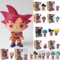 ejderha kutusu goku figürü toptan satış-16 Stilleri Funko Pop Dragon Ball Z Goku Süper Saiyan Tanrı Kırmızı Hediye Ile Tanrı Vinil Action Figure