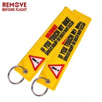 Danger Yellow Embroidered Label Key Chain Tag Keychain Car Motorbike Mororcycle
