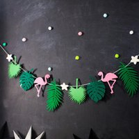 Wholesale bunting decor resale online - Good Flamingo And Pineapple Banner Bunting Summer Party Birthday Photo Prop Tropical Party Hawaiian Bundles Decor