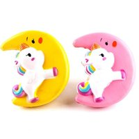 Wholesale kids flashing glasses resale online - Fidget Moon Unicorn Squishy Slow Rising Flash Powder Charms Jumbo Kawaii Phone Straps Pendant Stress Reliever toys kids Birthday Gift
