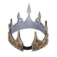 accesorios de escenario de oro al por mayor-Party King Queen Day Costume Cosplay Ancient Gold Crown Kids Birthday Party Hat Tool Stage Prop Gift Decoración de Halloween