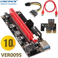 adaptador para elevador al por mayor-10 juegos CHICPICK VER009S USB 3.0 Pcie Express 1X a 16X Adaptador de cable de tarjeta vertical 2 6 pines de potencia para ETH BTC GPU Blockchain Minería