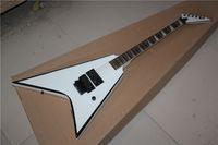белая гитара v оптовых-Новое поступление Белый V-образный белый электрогитара, высокое качество гитары на заказ магазин, бесплатная доставка!