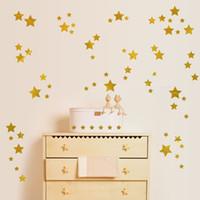 ingrosso bastone pareti vivaio-Star Wall Decals (189 Count) Gold Star Decalcomanie Nursery Decalcomanie Rimovibili Peel and Stick Stickers murali, Vintage Gold