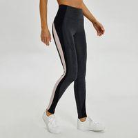 gespleißte strumpfhosen großhandel-LU-33 Hohe Taille Frauen Splice yoga hosen Sport Gym Wear Leggings Elastische Fitness Lady Insgesamt Volle Strumpfhosen Workout