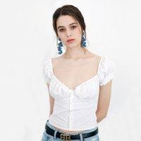 düğme bluzları kısa kollu toptan satış-Kadın Fırfır Trim Düğmesi Bluz Bağbozumu Kısa Kollu Üst