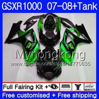 tanques suzuki al por mayor-Kit + Tanque para SUZUKI GSX R1000 GSXR-1000 GSXR 1000 2007 2008 301HM.59 GSX-R1000 Verde negro caliente 07 08 Cuerpo K7 GSXR1000 07 08 Carenado 7Regalos