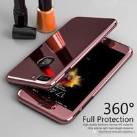 marca híbrida de iphone al por mayor-Marca Hybrid 360 ° Mirror Shockproof Case + cubierta de vidrio templado para iPhone