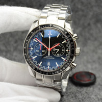 High Grade 44MM Quartz Chronograph Mens Watches Red Hands Stainless Steel Bracelet Fixed Bezel With A Top Ring Showing Tachymeter Markings