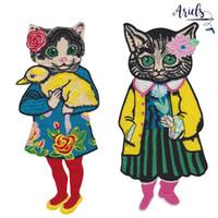 aplique de parche de dibujos animados al por mayor-parches bordados de gatos para chaquetas, flores bordadas de dibujos animados, insignias de gato, apliques para jeans, parches de animales para ropa A800