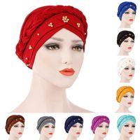 ingrosso cappelli in rilievo-Oeak Women Musulmano Turban Cap Bandane di colore solido Beaded Beanie Braid Beads Decor Hat