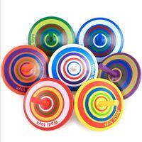 ingrosso mini legno di filatura superiore-Bambini Mini Cartoon multicolore in legno trottola giocattolo in legno giroscopio classico giocattolo per bambini che imparano giocattoli educativi