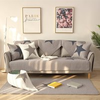 All Season Cotton Sofa Cover Printed Fashionable Pentagram Star Antiskid Country Style Sofa Towel