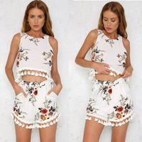iki parça vücut kıvırcıklığı toptan satış-Kadınlar İki Adet BODYCON Romper Crop Top Şort Tulum Yaz Giyim Kıyafetler