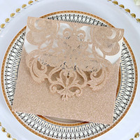einladung leere karte großhandel-Glittery Luxuxhochzeit lädt Rose Goldleeres Shimmy gestanzte Abendessen-Einladungs-Karten-silberne Party Einladungen ein Freies Verschiffen