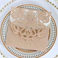 convites livres do transporte venda por atacado-Luxo Brilhantes Convites de Casamento Rosa de Ouro Em Branco Shimmy Die Cut Convite de Jantar Cartões Convites de Festa de Prata Frete Grátis