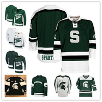 Wholesale Custom Michigan State Spartans jersey NCAA College Hockey Jersey White Red Stitched Any Number Name Jersey S XL