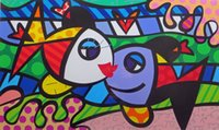aceite de pescado de calidad al por mayor-Romero Britto Arte abstracto Happy Kissing Fish, Reproducción de pintura al óleo de alta calidad Impresión en lienzo Modern Home Art Decor