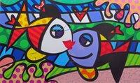 óleo de peixe de qualidade venda por atacado-Romero Britto Feliz Arte Beijando Peixes, Pintura A Óleo Reprodução de Alta Qualidade Impressão Giclée em Canvas Modern Home Art Decor
