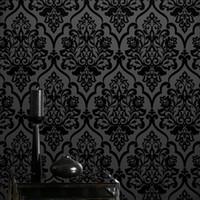 papel de parede rosa glitter para paredes venda por atacado-Wallpaper de venda quente alto grau Mistério Classic Black Velvet Reunindo damasco Têxtil Wallcovering para decoração de casa
