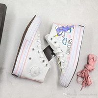 Wholesale paintings clouds resale online - Cute Cartoon Horse And Cloud Hand Painted Unicorn Joint Rainbow High Casual Shoe Sneaker Women High White Sports Shoes
