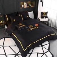 siyah yatak takımları toptan satış-4 Renk Yeni Siyah Altın Iplik Nakış Ile Yatak Setleri 4 ADET Yatak Örtüsü Takım Butik Tüm Pamuk Yaz Bahar Yatak Takım Elbise