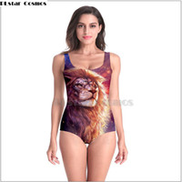 Wholesale hot lady cosplay resale online - 2019 Hot lion Women s Ladies Sleeveless Sexy Cosplay art lion animal summer girl D Printed Beach Swimwear One Piece Swimsuit