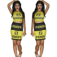 ingrosso vestiti casuali gialli delle donne-Vestiti delle donne Abiti Fet FF Lettere Crop Gonne Abbigliamento donna Abiti giallo nero